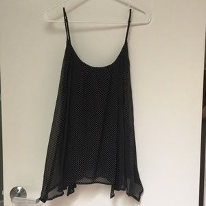 Black and light brown polka dot sheer blouse cami